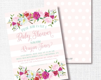 Pink Floral Baby Shower Invitation, Printable, Girl Shower Invite, Pink Stripe, Luncheon, Birthday, Preppy Shower