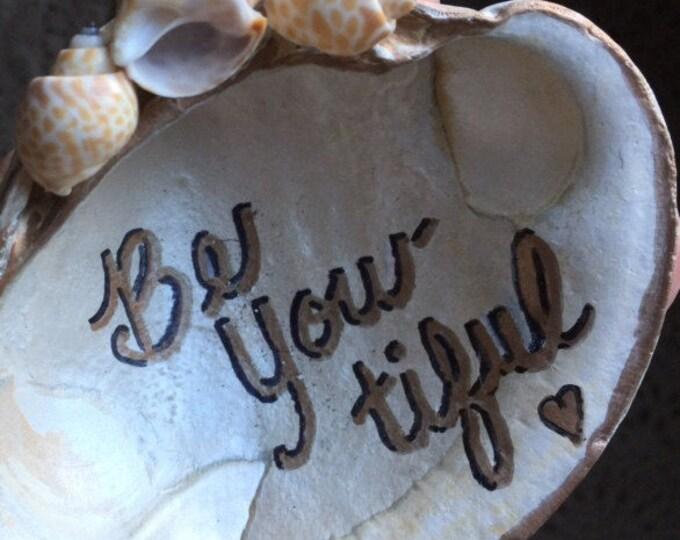 Shell ring dish bridesmaids beach wedding beach lover jewelry holder trinket dish birthday  personalized shell BeachHouseDreams