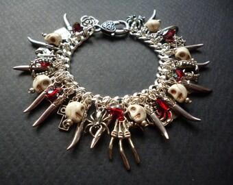 Gothic Charm bracelet ~ Macabre jewelry ~ Horror bracelet