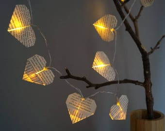 Fairy light-birthday gift for harry potter fan-string light-book pages-origami heart night light-bedroom light-tree light-valentine gift