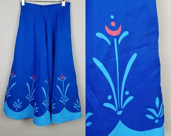 1950s vintage skirt blue with abstract floral detail full fit and flare - 50s full skirt - vintage circle skirt