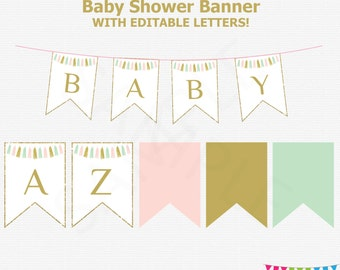 Editable Baby Shower Banner, Pink Mint Gold Baby Shower Decorations, Tassels, Girl Baby Shower Decor, DIY Baby Shower Banner, A to Z, TASPMG