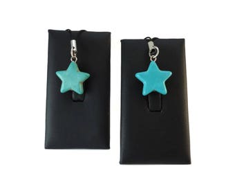 Turquoise Blue Star Purse Charm for Zipper Pull, Small Blue Charms for Purses or Backpack Charm, Pretty Blue Star Charm Gift for Women
