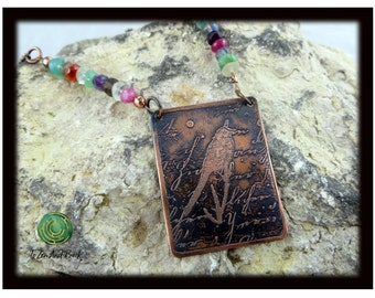Etched Copper Pendant Necklace Mixed Stone Necklace Adjustable Necklace