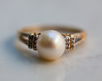 Estate Pearl and Diamond Accent Ring Set in 14K Solid Yellow Gold, Size 7 / Pearl Ring / Pearl Engagement Ring /