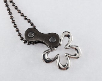 cycling bicycle chain flower necklace bike jewelry, bicycle necklace, metal flower bicycle jewelry