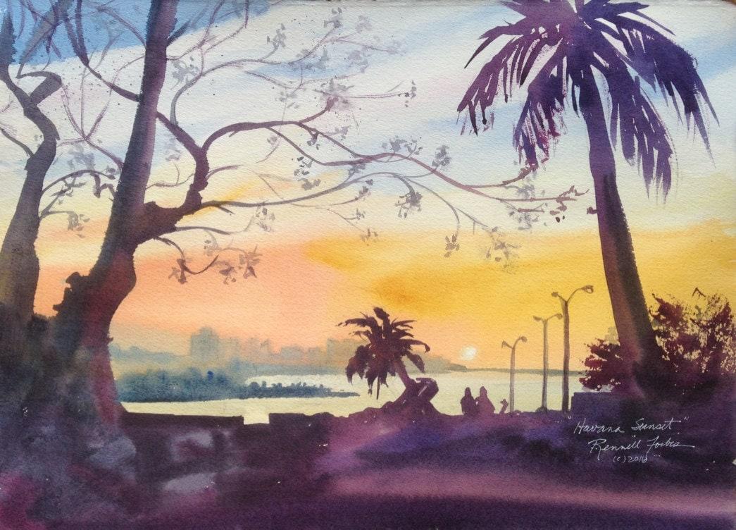 Havana Sunset Original Watercolor Cuban Architecture Art of