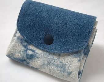 Wallet, Indigo Blue, Japanese Shibori, Hand Dyed, Indigo, Blue, Shibori Pattern, Pouch, Purse, Coin Case, something blue, Aizome