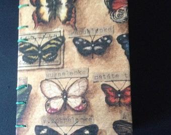 botanical, gratitude journal, pocket notebook, butterflies, sketchbook, journal, coptic stitch journal, A6, cute sketchbook, prayer journal