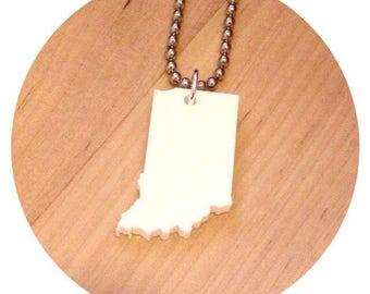 Indiana Necklace, US State Shape Jewelry, White Acrylic, State Jewelry
