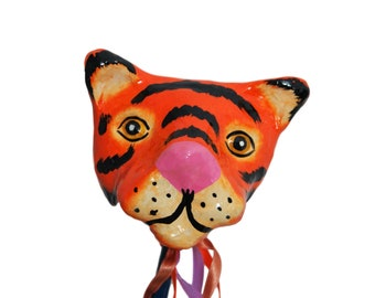 Mexican Paper Mache Tiger Rattle Hand Painted.