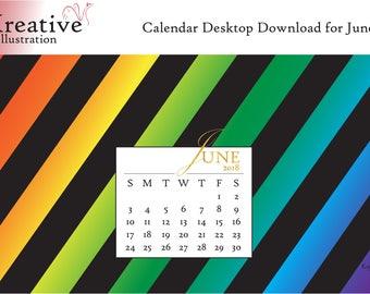 Digital Download: Desktop Calendar June 2018