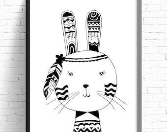 Monochrome Tribal Rabbit Print - Nursery Print - Kids Room Wall Art - A4 Print Print - Monochrome - Black & White - Tribal Bunny