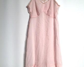 Pale pink vintage slip nylon. Retro pink nightie. Nylon.