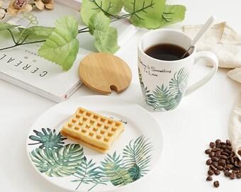 Tropical plant Ceramic Plate tableware (mugs, dish) Free shipping