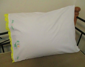 Vintage Hand Embroidered and Crocheted Single Floral Cotton Pillowcase with Bright Yellow Trim