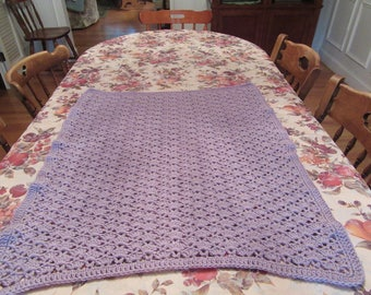 Light Plum Fan and V-stitch baby blanket/afghan