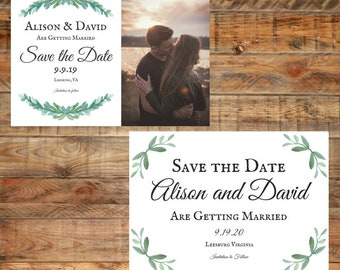 Greenery Wedding Save the Date, Leafy Green Wedding Save the Date, Printable Wedding Save the Date Digital Download