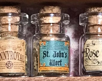 "Jar of ST. JOHN'S WORT for a dollhouse, witch's herbs and poisons, dollhouse size, in a glass jar 1:12 1/12 1"", under 1"" tall, (simulated)"