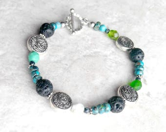 Essential oil diffuser Bracelet, turquoise bracelet, blue and green, lava bead bracelet, gift for her, December birthstone, summer fashion