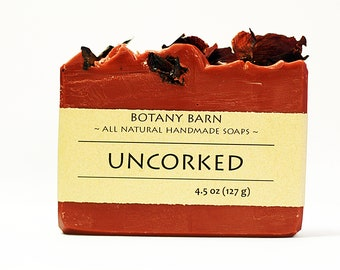 Red Wine Soap - Wine Soap, Floral Soap, Bar Soap, Organic Soap, Cold Process Soap, Natural Soap, Gift for Wine Lover, Homemade Soap, Cocoa
