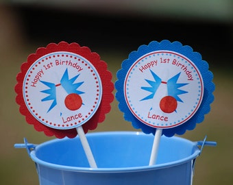 Bowling  Cupcake Toppers - Set of 12 Personalized Birthday Party Decorations