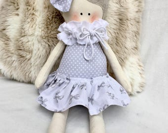 Cloth doll with gray polka dots dress and bow on head-soft doll