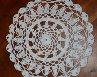 Handmade doily 22 cm, white, round crocheted with cotton