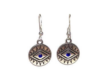 Evil eye earrings  - sterling silver french ear wire - Greek jewelry - protection - Good luck - ethnic jewelry - disc jewely