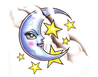 Moon temporary tattoo design - 2x3 inch