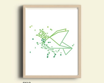 Printable image, bird graphic, bird illustration print, animals wall art prints, bird digital download, green, mint, printable graphic bird