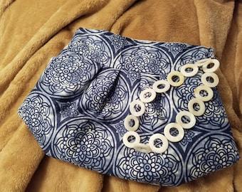 Blue & White Clutch-Wristlet