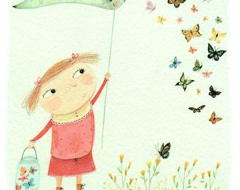 Catching Butterflies - Giclee Print - Pretty Illustration - Butterflies - Nursery Print