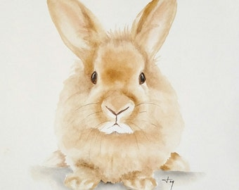 ORIGINAL BUNNY Watercolor Painting, Rabbit Nursery Artwork, Woodland Animal