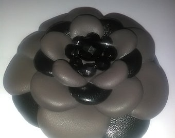 Leather flower brooch, Leather jewelry, Brown flower, Leather brooch, Wedding jewelry, Handmade brooch.