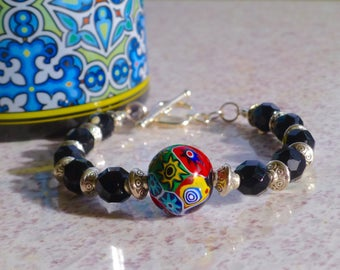 Vintage black glass beads with Murano glass bead detail bracelet.
