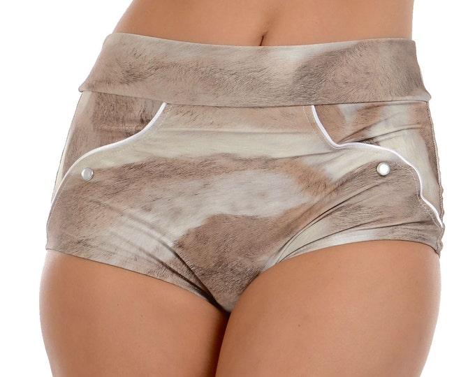 Rosemary Western Cowgirl Bikini Bottom in Faux Fur Print