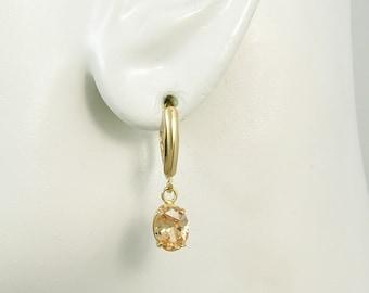 14K Gold Dangle Champagne Topaz Oval Drop Gemstone Classic Lever Back Earrings 14KCHTOPOV8x6LB