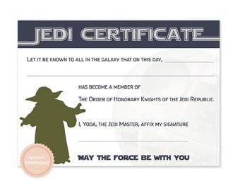INSTANT DOWNLOAD Star Wars Jedi Certificate (Yoda, Star Wars Birthday, Jedi Award Cerificate)