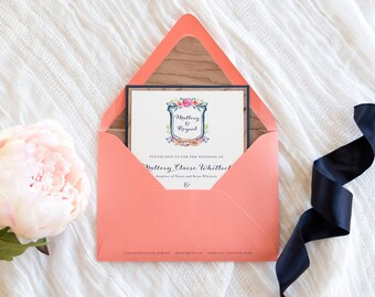 Real Cherry Wood Wedding Invitation in Navy and Coral with Floral Botanical Crest - Boho, Garden, Rustic, Barn - The Wonderland Suite