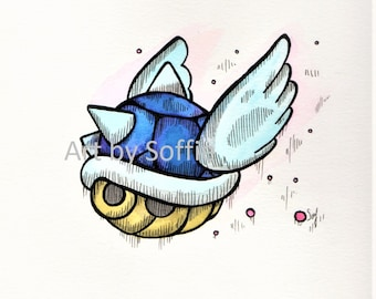 Blue Shell Pen and Ink Drawing