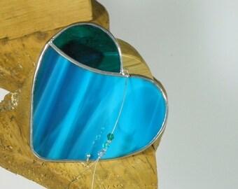 Blue Stained glass Heart Suncatcher & Window ornament