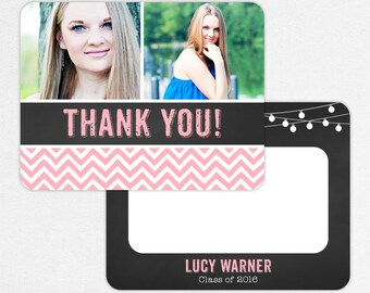 Graduation Thank You Card, Photo Graduation Thank You, Printable Graduation Thank You, Printed Thank Yous, Chalkboard, String Lights, Pink