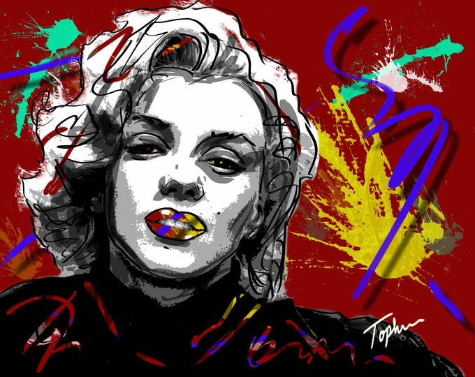 """Featured listing image: Limited Edition Print.  """" Marilyn """" Digital painting, Wall art, Painting. Art print"""