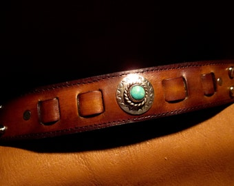 "Custom leather wrist cuff 1-1/2"" wide with Silver and Turquoise."