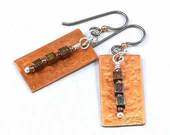 Hammered Earrings, Copper Earrings, Rectangle Earrings,  Handcrafted Earrings, Niobium Earwires, Solana Kai Designs, Portland Oregon