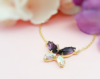 Amethyst Butterfly Necklace - Crystal Butterfly Jewelry - Swarovski Crystal Necklace Purple - Butterfly Necklace - Aurora Borealis N3100