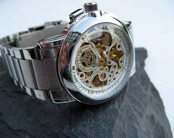Luxury Silver Mechanical Wristwatch, Stainless Steel Wristband, Automatic Self-winding, Engraved, Personalized Gift - Item MWA259
