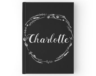 Personalized Floral Journal, hardcover journal, floral, custom journal, name journal, black journal, personalized journal, custom notebook