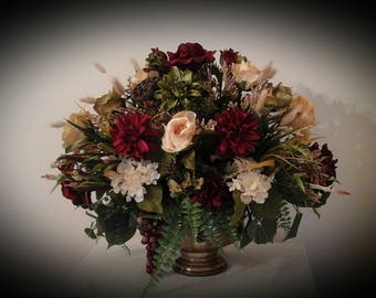 Floral Arrangement, XL Floral Centerpiece, SHIPPING INCLUDED, Elegant Tuscan Large Silk Floral Arrangement, Foyer,Dining Room Centerpiece